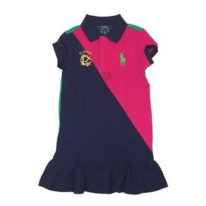 RALPH LAUREN Colorblock Rugby Polo Dress Big Pony